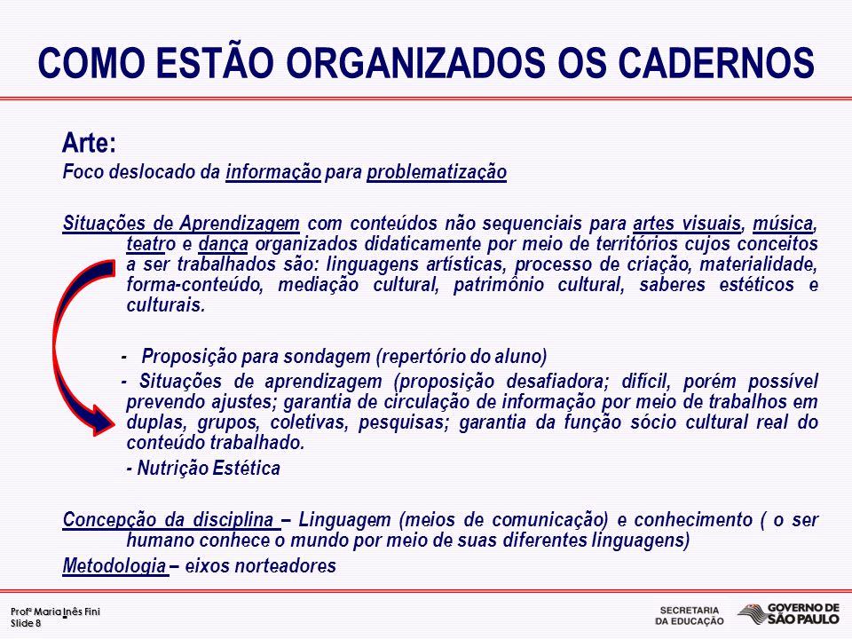 COMO ESTÃO ORGANIZADOS OS CADERNOS
