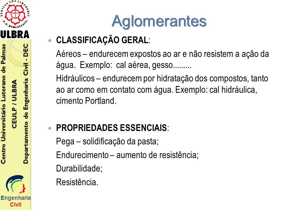 Aglomerantes CLASSIFICAÇÃO GERAL: