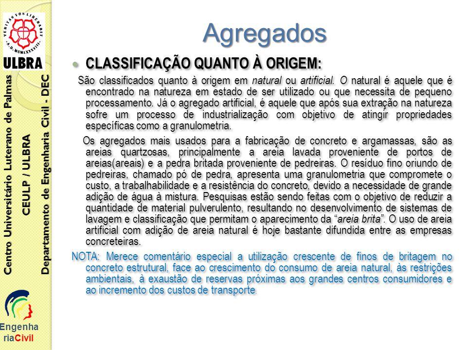 Agregados CLASSIFICAÇÃO QUANTO À ORIGEM: