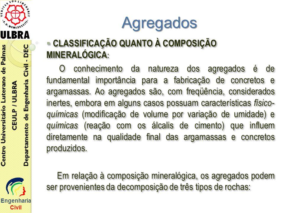 Agregados CLASSIFICAÇÃO QUANTO À COMPOSIÇÃO MINERALÓGICA: