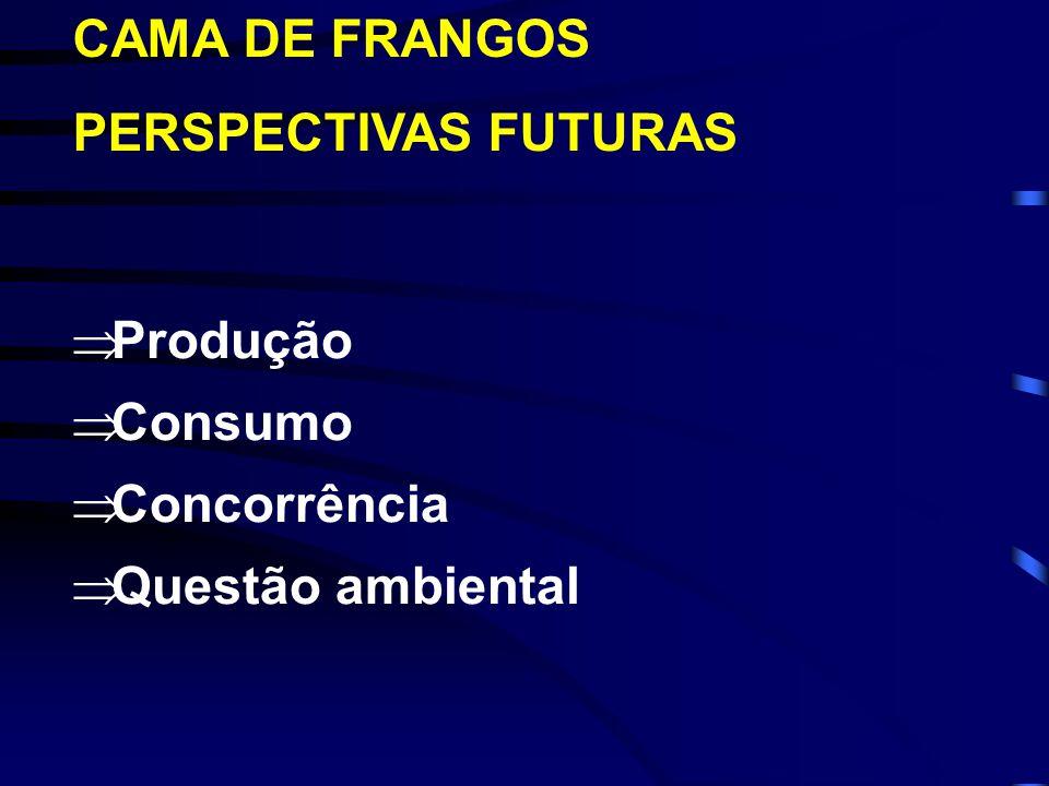 CAMA DE FRANGOS PERSPECTIVAS FUTURAS Produção Consumo Concorrência Questão ambiental