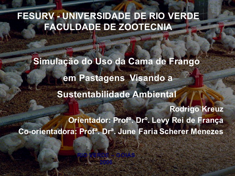 FESURV - UNIVERSIDADE DE RIO VERDE FACULDADE DE ZOOTECNIA