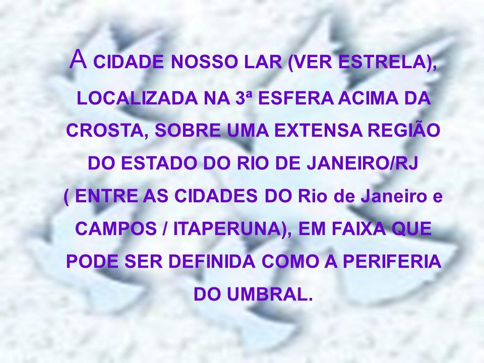 A CIDADE NOSSO LAR (VER ESTRELA), LOCALIZADA NA 3ª ESFERA ACIMA DA CROSTA, SOBRE UMA EXTENSA REGIÃO DO ESTADO DO RIO DE JANEIRO/RJ ( ENTRE AS CIDADES DO Rio de Janeiro e CAMPOS / ITAPERUNA), EM FAIXA QUE PODE SER DEFINIDA COMO A PERIFERIA DO UMBRAL.