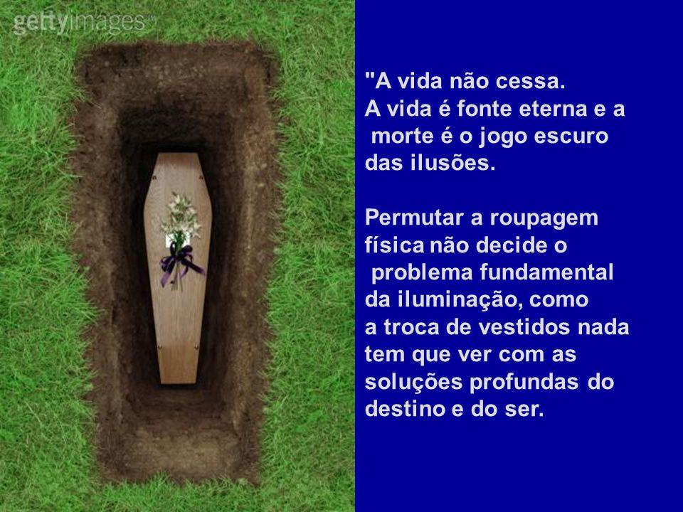 A vida não cessa. A vida é fonte eterna e a. morte é o jogo escuro das ilusões. Permutar a roupagem física não decide o.