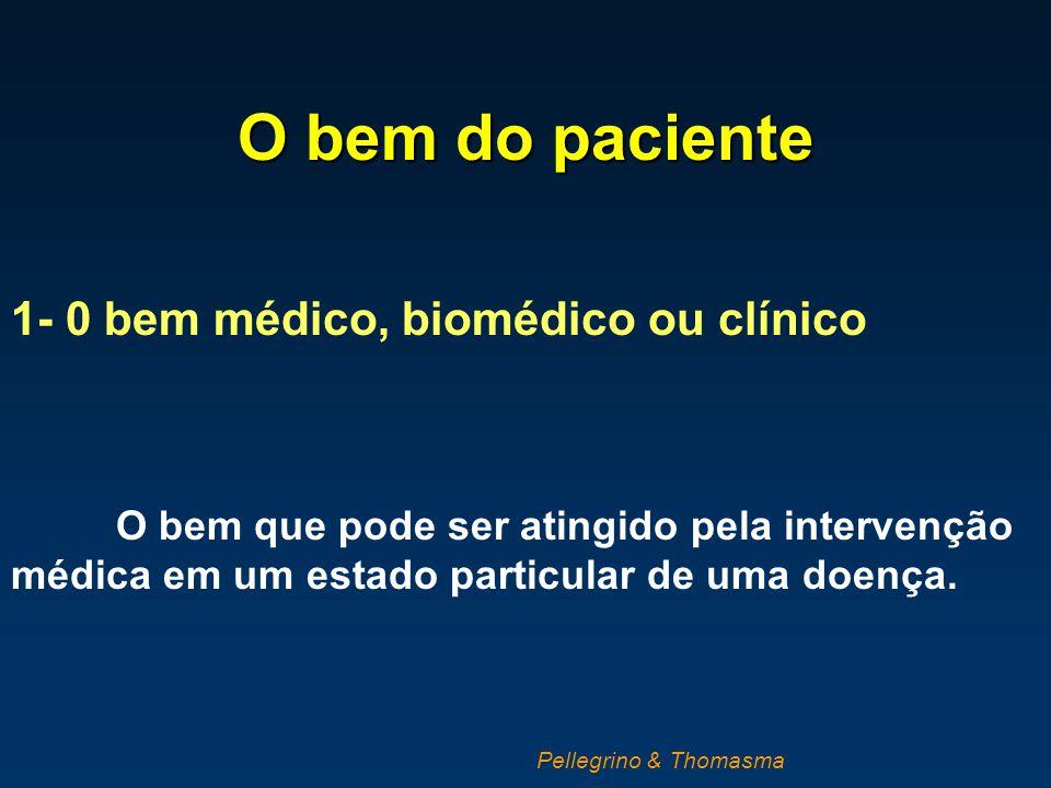O bem do paciente 1- 0 bem médico, biomédico ou clínico