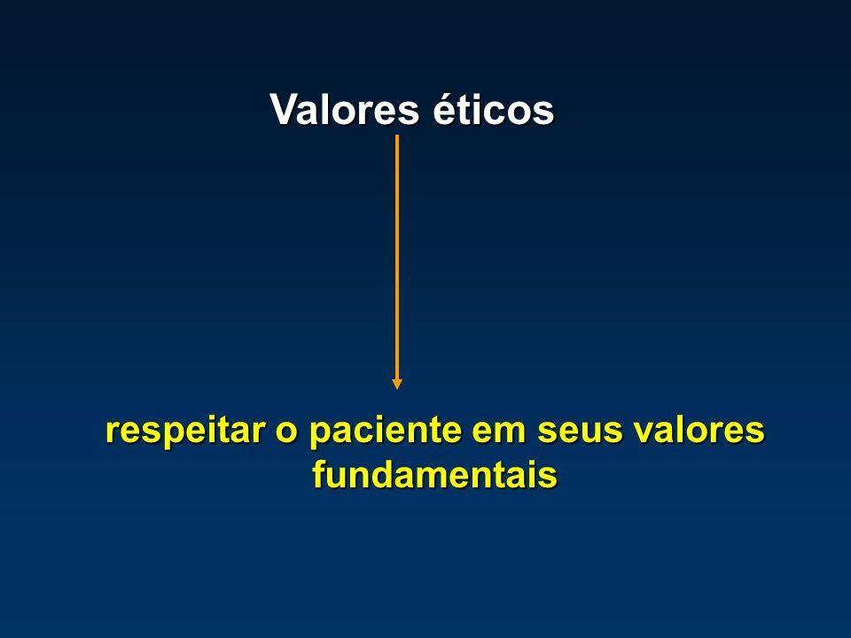 respeitar o paciente em seus valores fundamentais