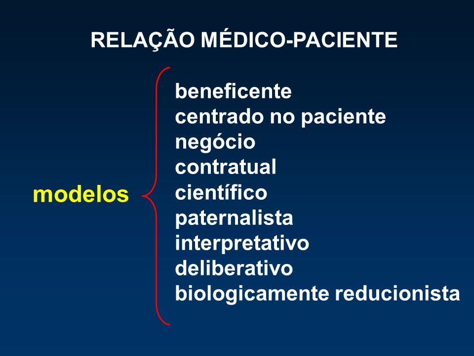 modelos RELAÇÃO MÉDICO-PACIENTE beneficente centrado no paciente