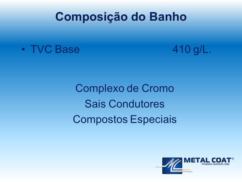 Composição do Banho TVC Base 410 g/L. Complexo de Cromo