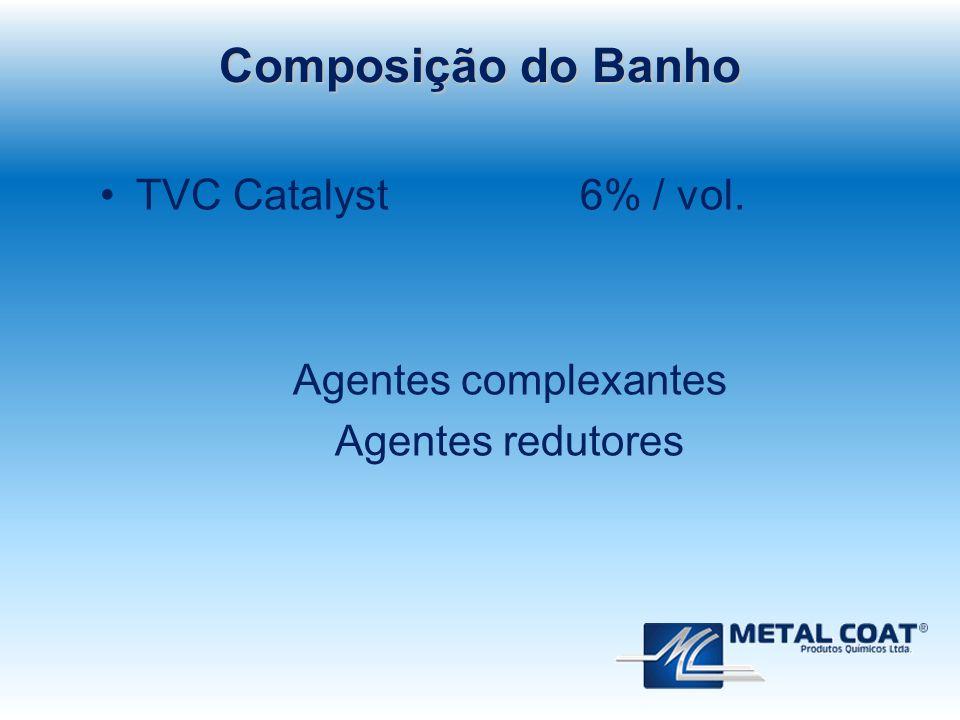 Composição do Banho TVC Catalyst 6% / vol. Agentes complexantes
