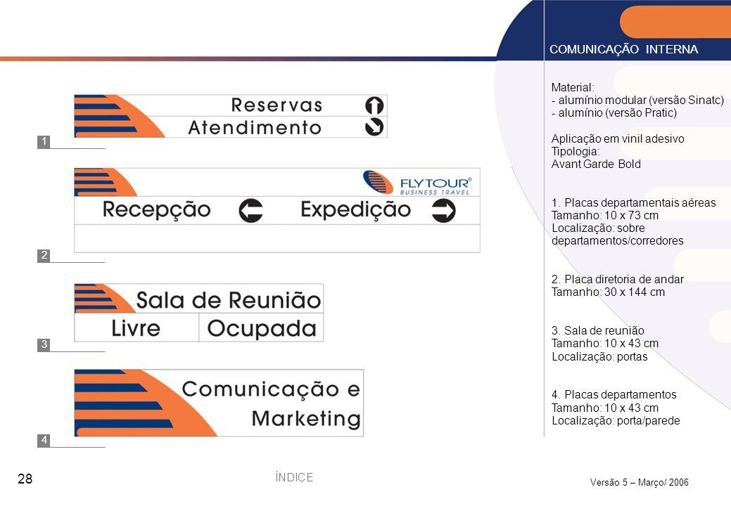 COMUNICAÇÃO INTERNA Material: - alumínio modular (versão Sinatc)