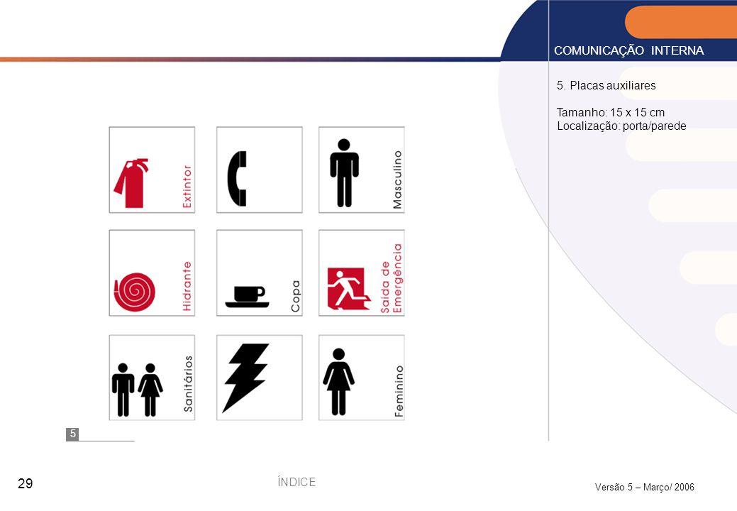 COMUNICAÇÃO INTERNA 5. Placas auxiliares Tamanho: 15 x 15 cm