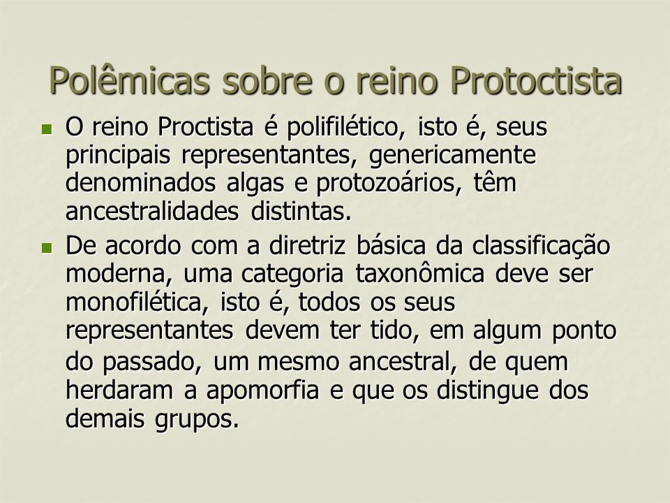 Polêmicas sobre o reino Protoctista