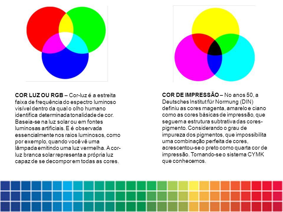 COR LUZ OU RGB – Cor-luz é a estreita faixa de frequência do espectro luminoso visível dentro da qual o olho humano identifica determinada tonalidade de cor. Baseia-se na luz solar ou em fontes luminosas artificiais. E é observada essencialmente nos raios luminosos, como por exemplo, quando você vê uma lâmpada emitindo uma luz vermelha. A cor-luz branca solar representa a própria luz capaz de se decompor em todas as cores.