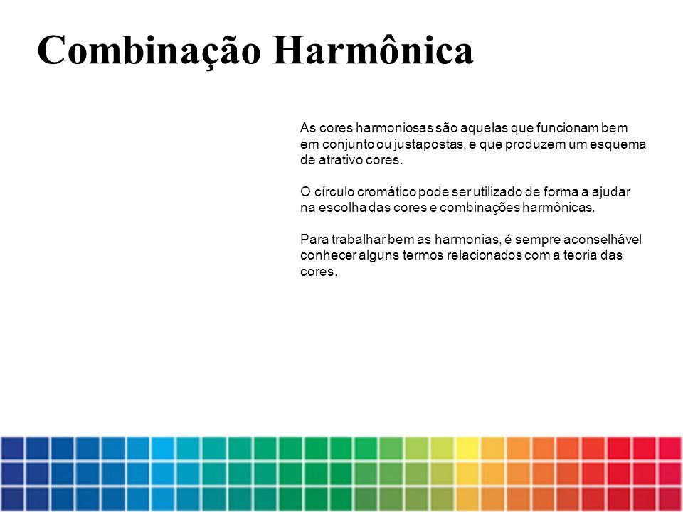 Combinação Harmônica As cores harmoniosas são aquelas que funcionam bem em conjunto ou justapostas, e que produzem um esquema de atrativo cores.