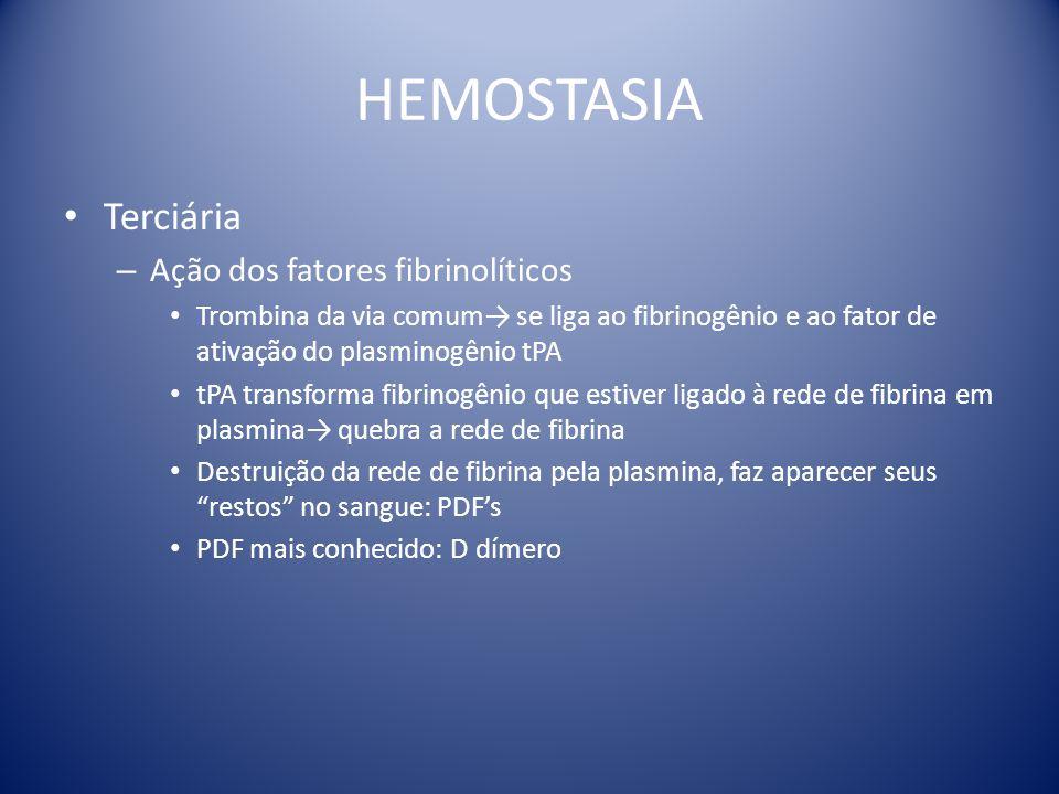HEMOSTASIA Terciária Ação dos fatores fibrinolíticos