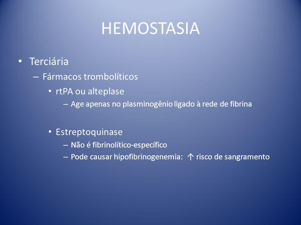 HEMOSTASIA Terciária Fármacos trombolíticos rtPA ou alteplase