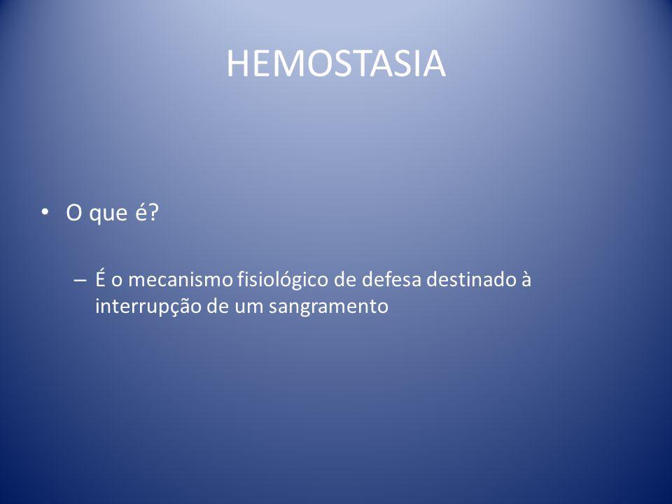 HEMOSTASIA O que é É o mecanismo fisiológico de defesa destinado à interrupção de um sangramento