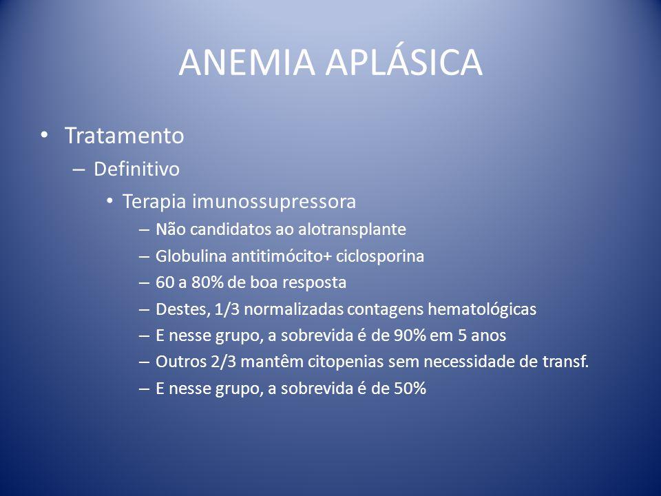 ANEMIA APLÁSICA Tratamento Definitivo Terapia imunossupressora