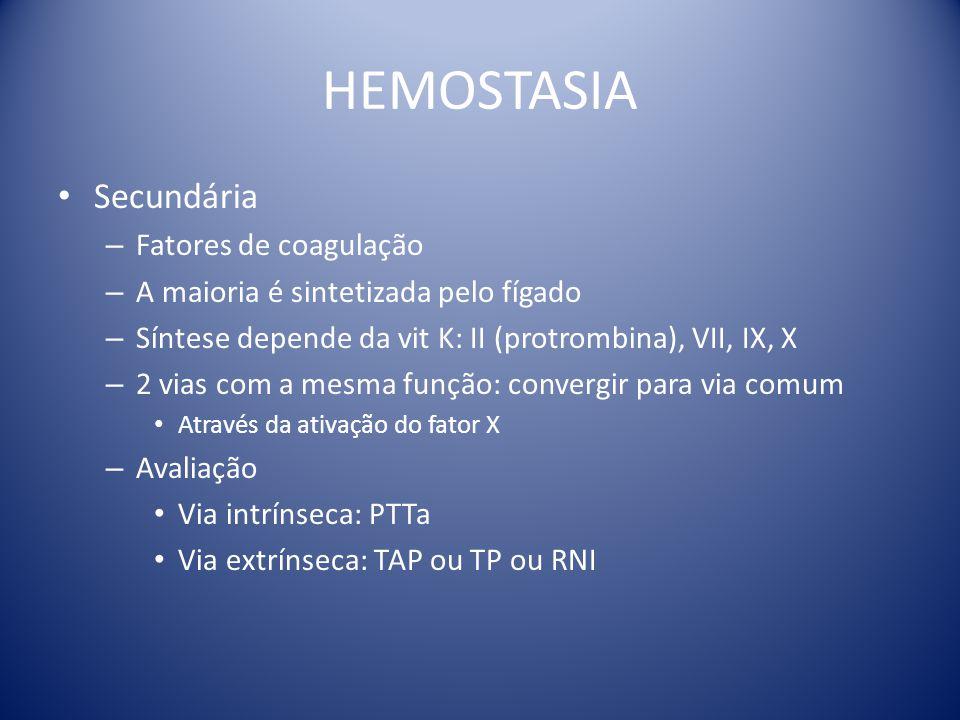HEMOSTASIA Secundária Fatores de coagulação