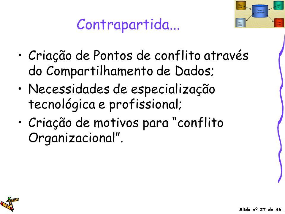 Contrapartida... Criação de Pontos de conflito através do Compartilhamento de Dados; Necessidades de especialização tecnológica e profissional;