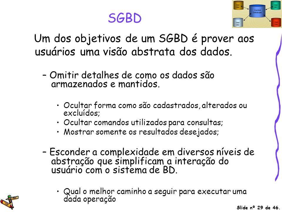 Um dos objetivos de um SGBD é prover aos