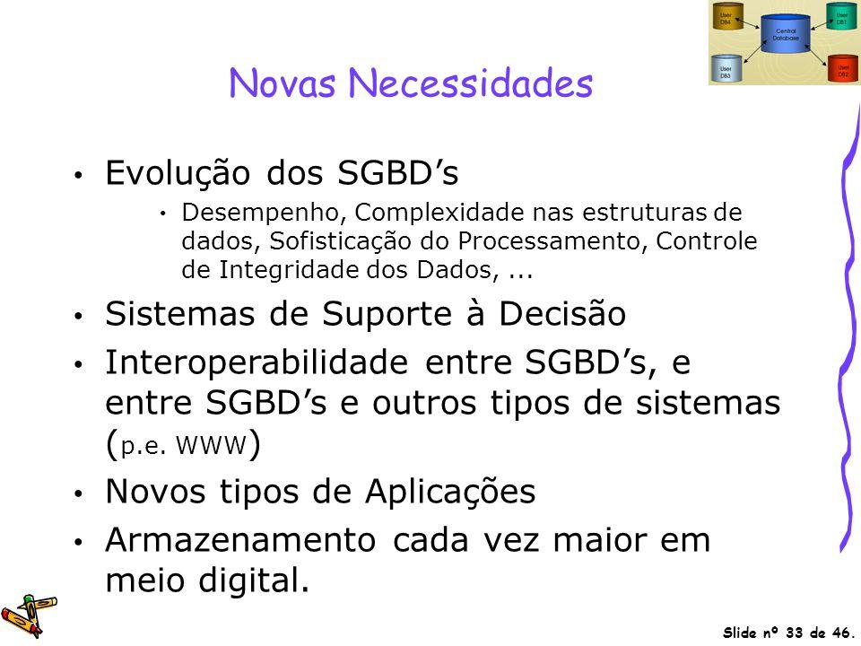 Novas Necessidades Evolução dos SGBD's Sistemas de Suporte à Decisão