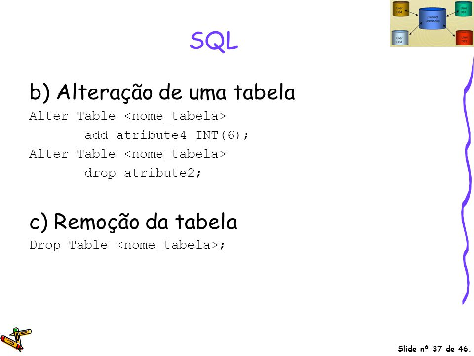 SQL b) Alteração de uma tabela c) Remoção da tabela