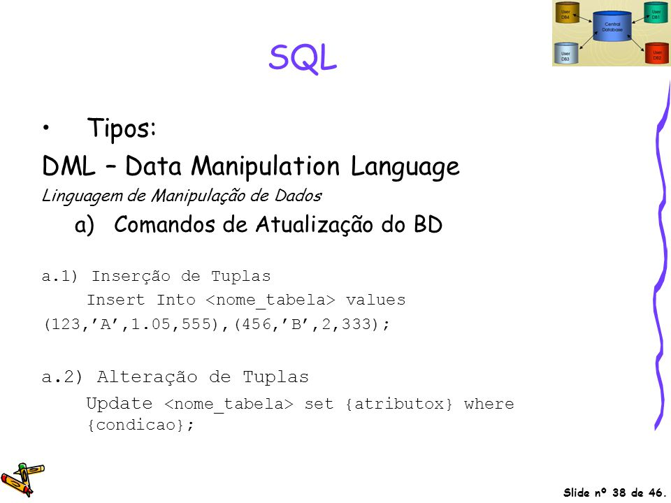 SQL Tipos: DML – Data Manipulation Language