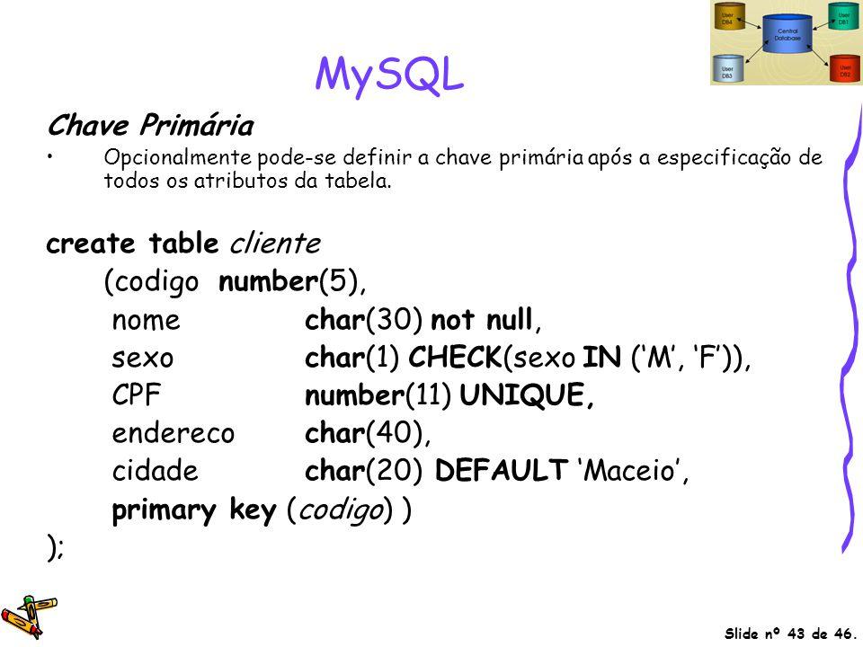 MySQL Chave Primária create table cliente (codigo number(5),