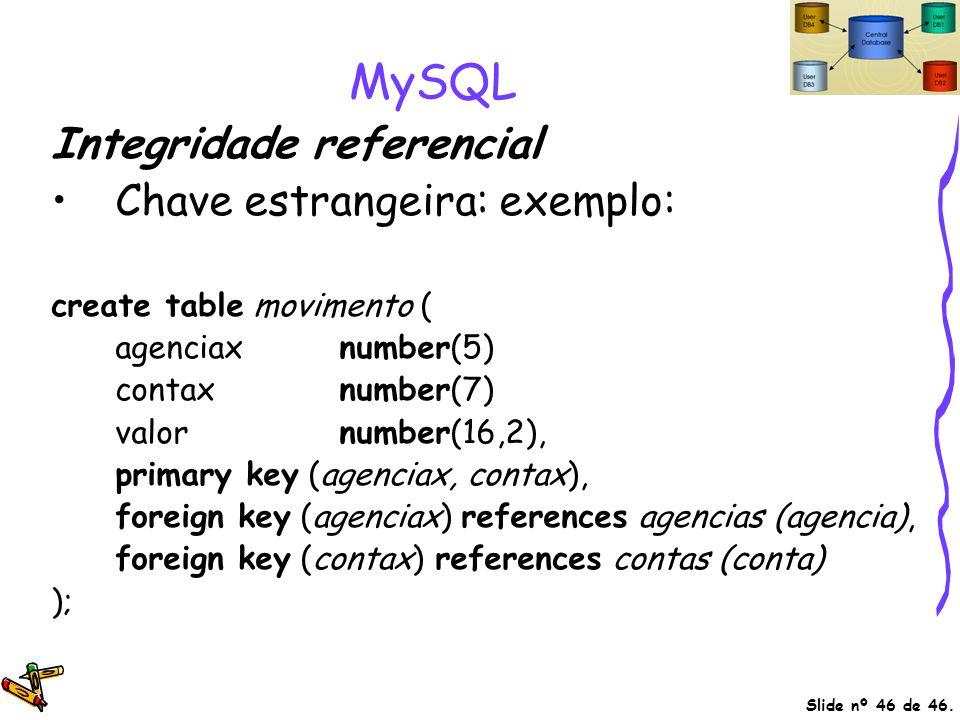 MySQL Integridade referencial Chave estrangeira: exemplo: