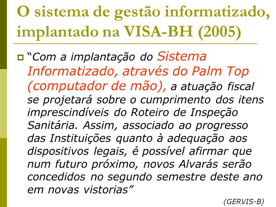 O sistema de gestão informatizado, implantado na VISA-BH (2005)