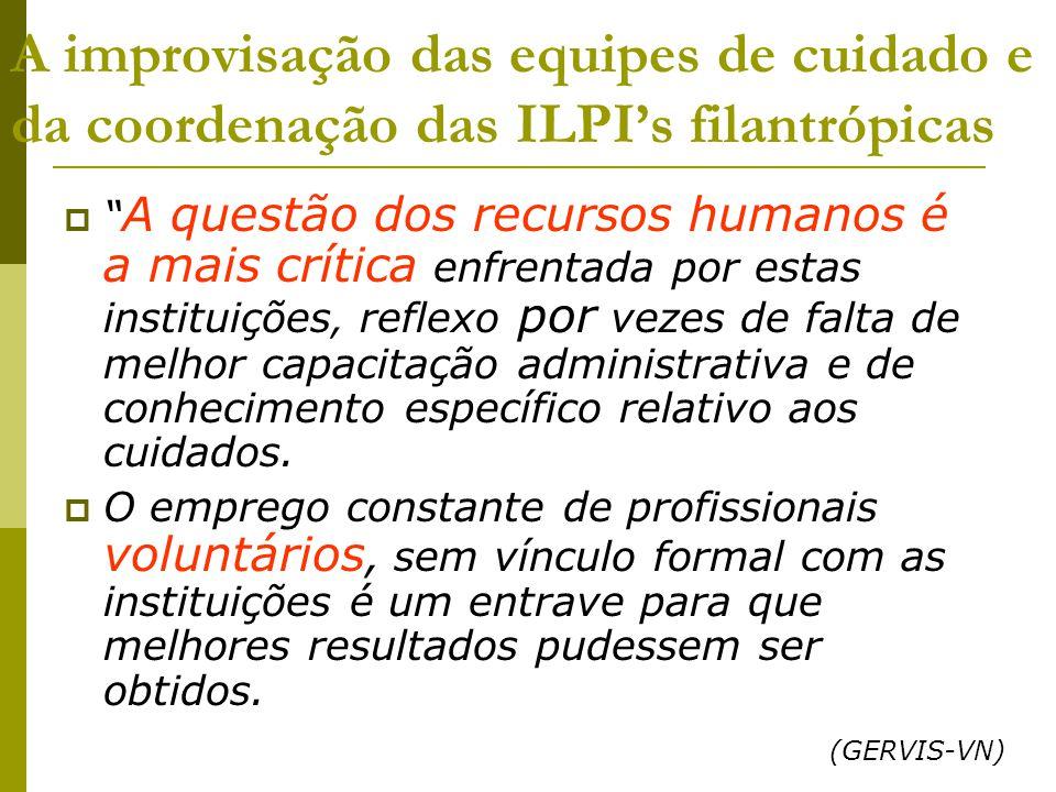 A improvisação das equipes de cuidado e da coordenação das ILPI's filantrópicas