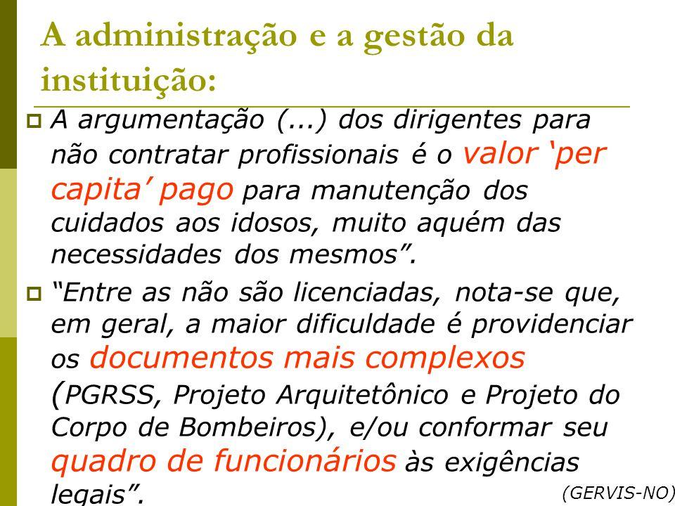 A administração e a gestão da instituição: