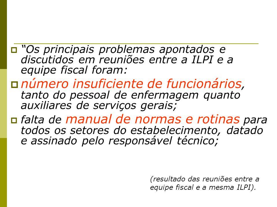Os principais problemas apontados e discutidos em reuniões entre a ILPI e a equipe fiscal foram: