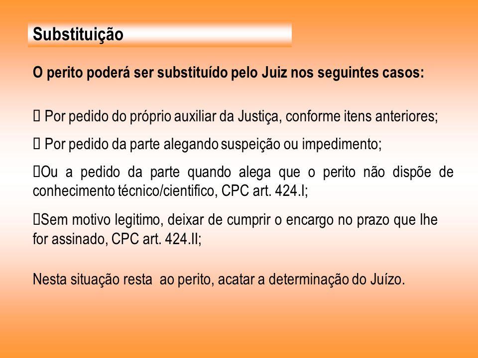 Substituição O perito poderá ser substituído pelo Juiz nos seguintes casos: Ø Por pedido do próprio auxiliar da Justiça, conforme itens anteriores;