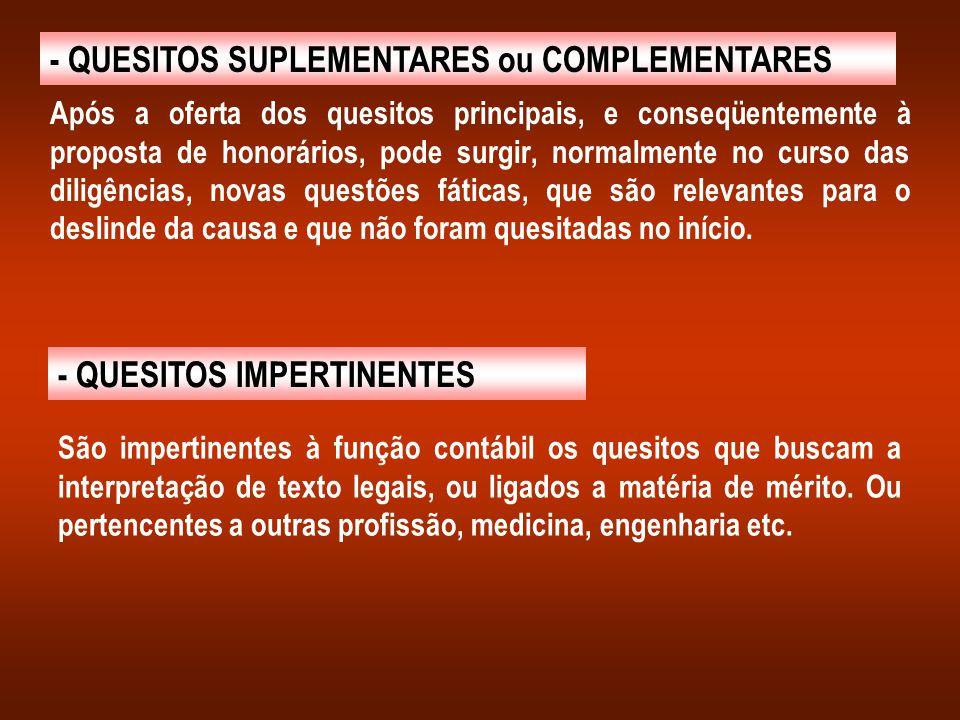 - QUESITOS SUPLEMENTARES ou COMPLEMENTARES