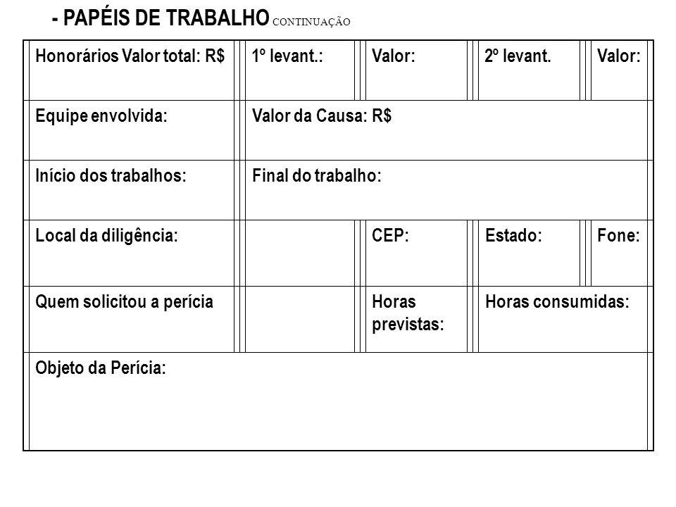 - PAPÉIS DE TRABALHO CONTINUAÇÃO