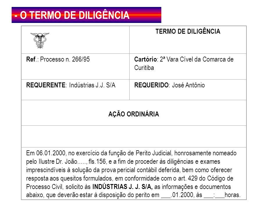 - O TERMO DE DILIGÊNCIA TERMO DE DILIGÊNCIA Ref.: Processo n. 266/95