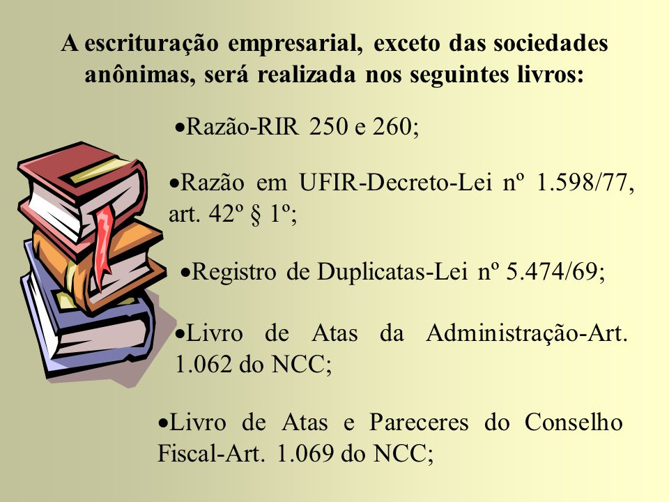 A escrituração empresarial, exceto das sociedades anônimas, será realizada nos seguintes livros: