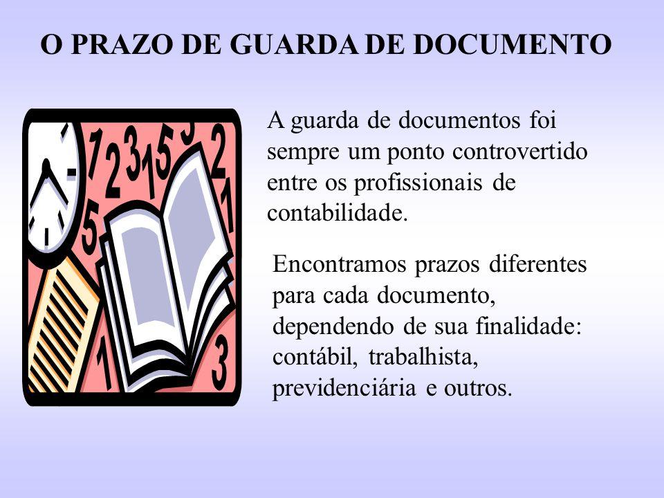 O PRAZO DE GUARDA DE DOCUMENTO