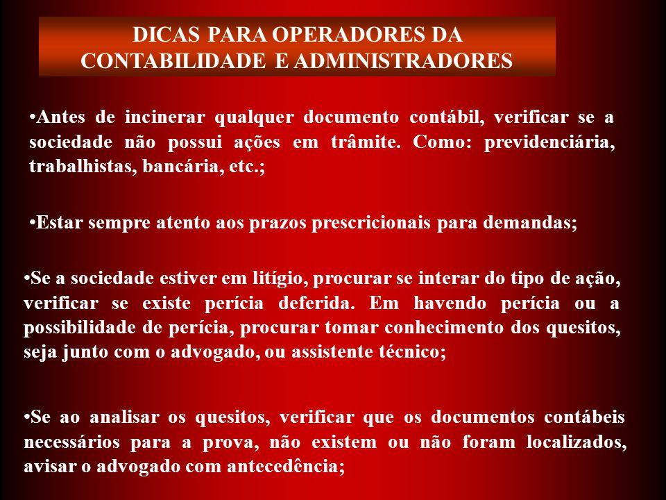 DICAS PARA OPERADORES DA CONTABILIDADE E ADMINISTRADORES