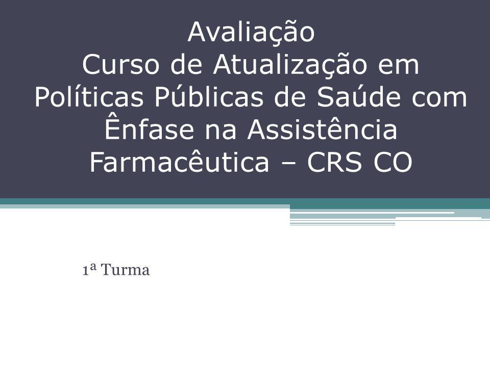 Avaliação Curso de Atualização em Políticas Públicas de Saúde com Ênfase na Assistência Farmacêutica – CRS CO