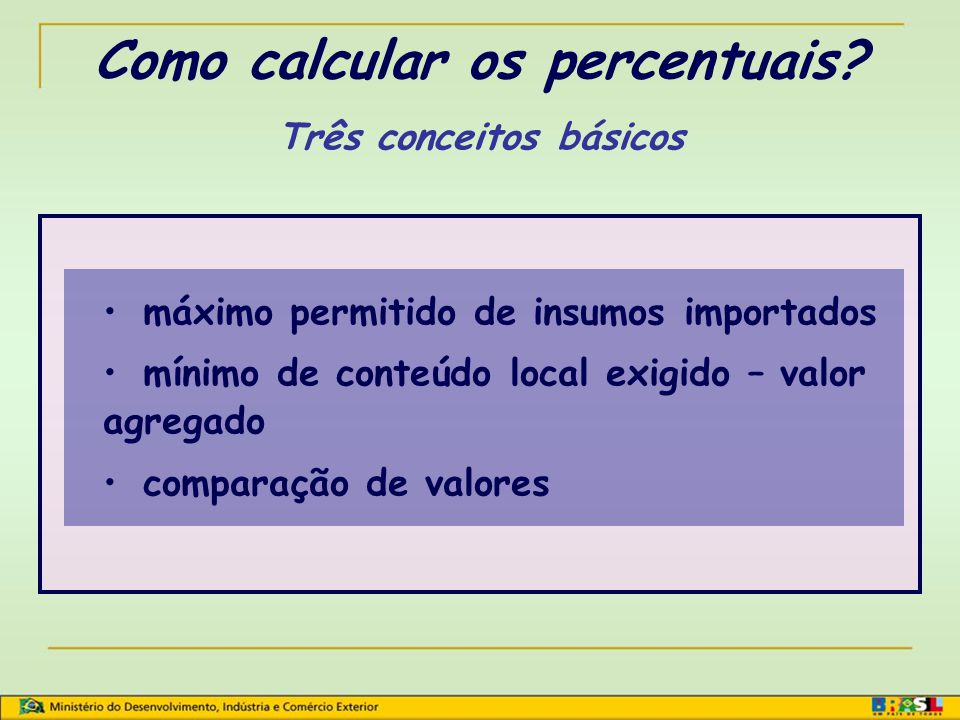 Como calcular os percentuais Três conceitos básicos
