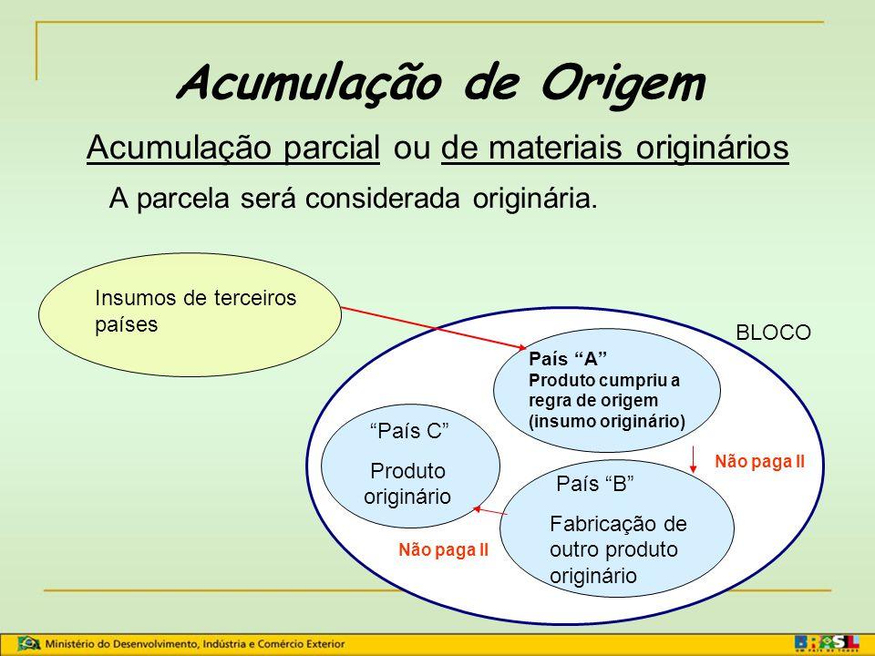 Acumulação parcial ou de materiais originários