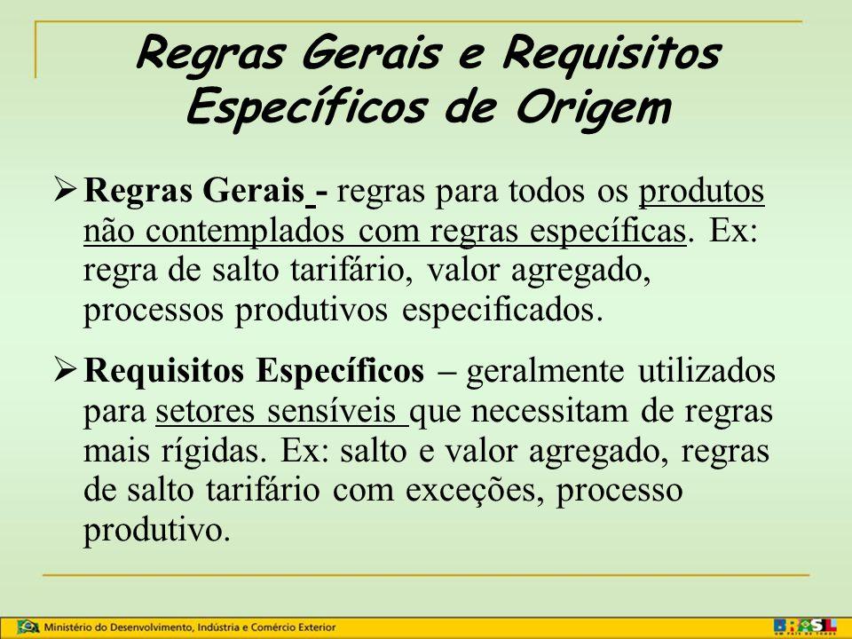 Regras Gerais e Requisitos Específicos de Origem