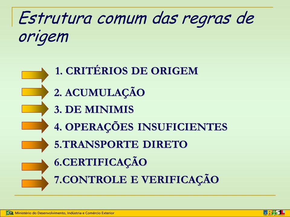 Estrutura comum das regras de origem