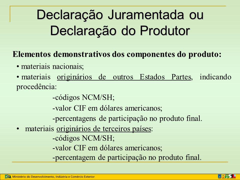 Declaração Juramentada ou Declaração do Produtor