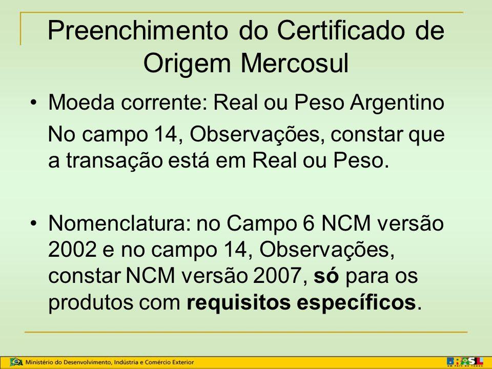 Preenchimento do Certificado de Origem Mercosul
