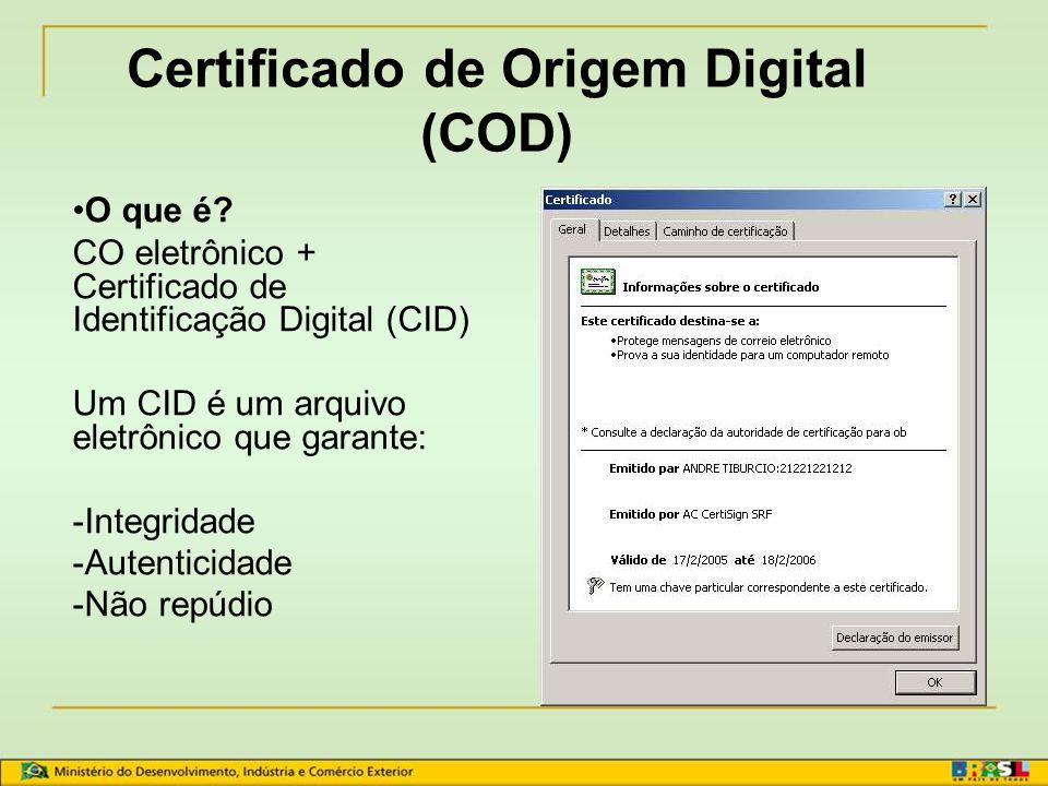Certificado de Origem Digital (COD)