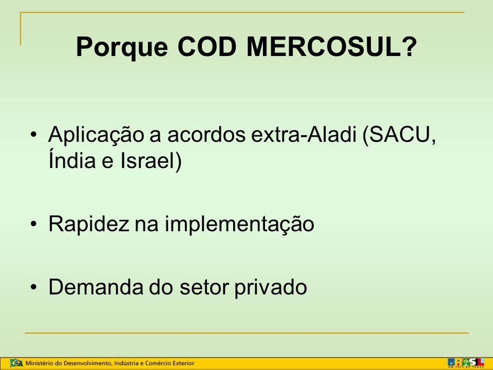 Porque COD MERCOSUL Aplicação a acordos extra-Aladi (SACU, Índia e Israel) Rapidez na implementação.